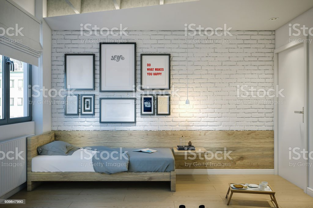 Single bed in modern apartament/hostel stock photo