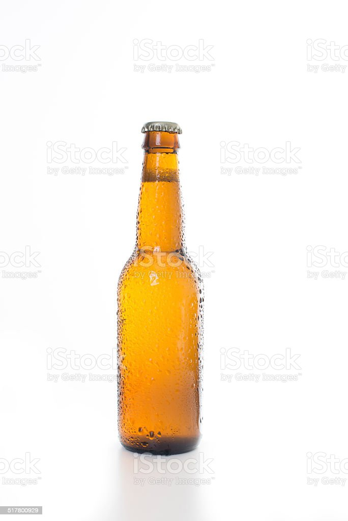 Single Beer Bottle on a White Background stock photo
