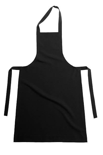 Single black apron on a white background stock photo
