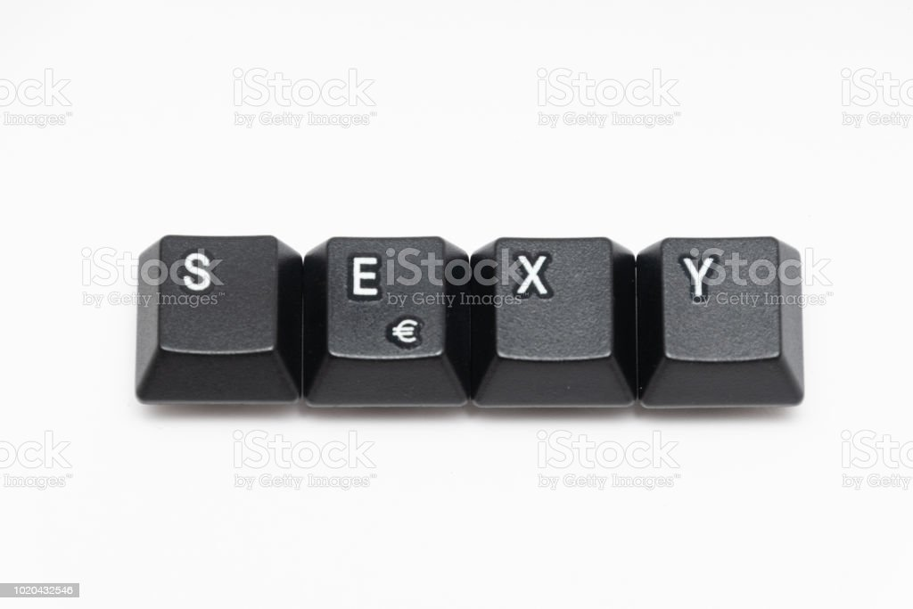 Single Black Keys Of Keyboard With Different Letters Stock Photo
