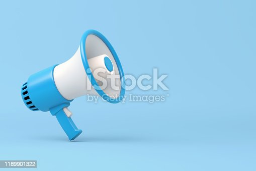 1055944594 istock photo Single blue and white electric megaphone with a handle stands on a blue background 1189901322