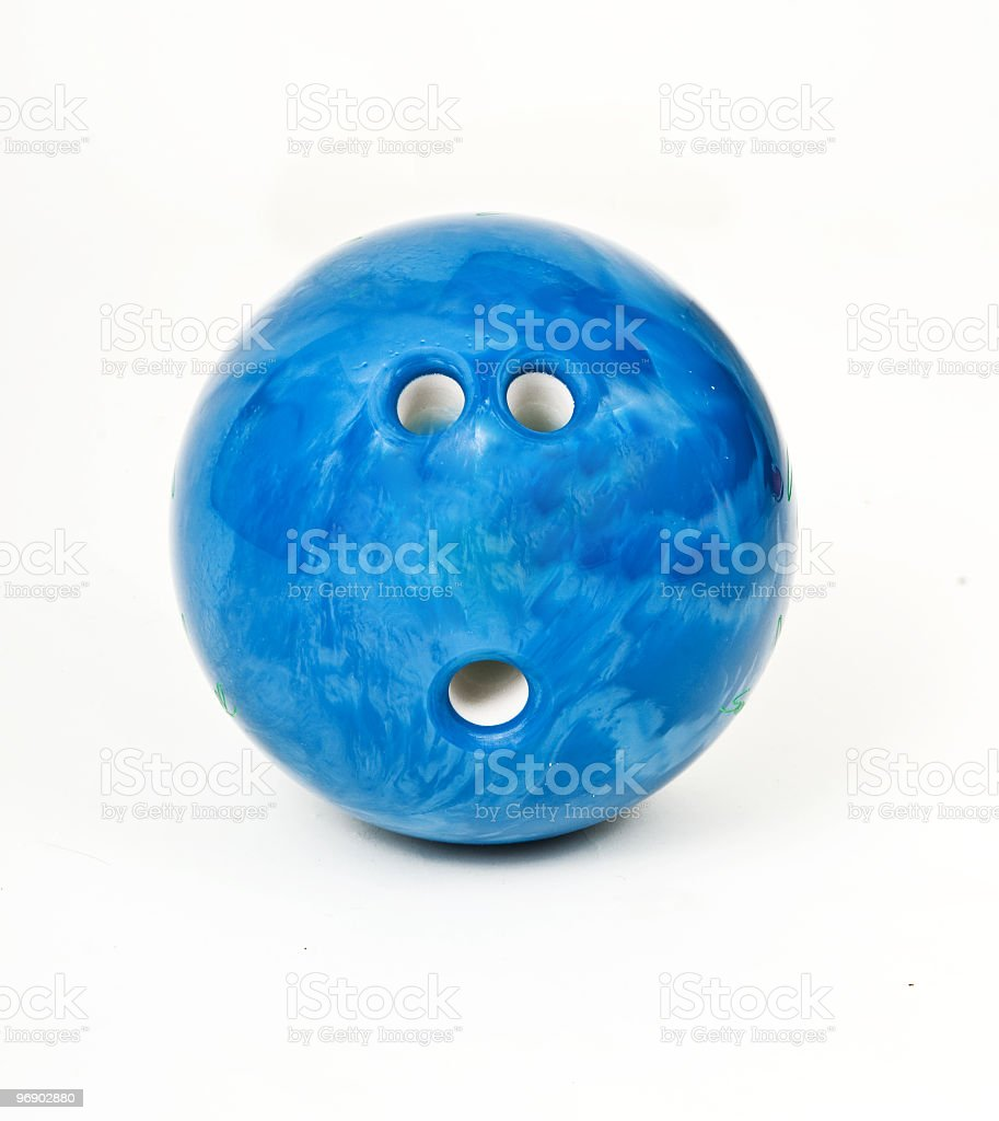 Single blue bowling bowl on a white background royalty-free stock photo
