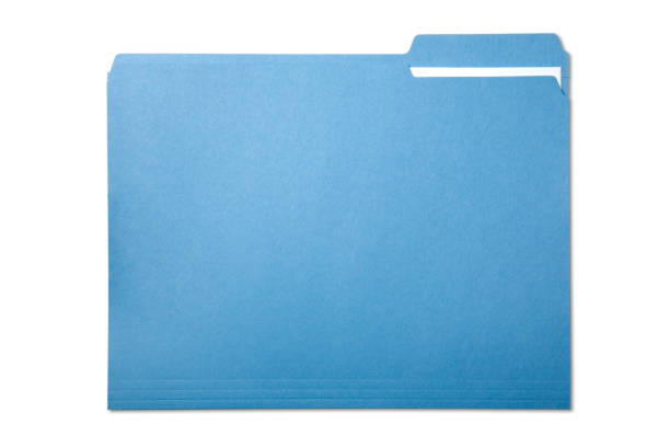 Single blue file folder isolated on white stock photo