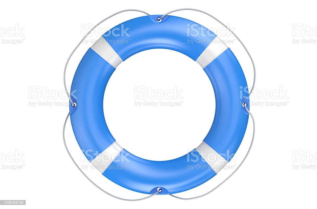 single blue lifebuoy closeup stock photo