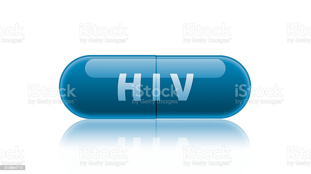 Single blue medicine capsule labeled HIV. stock photo