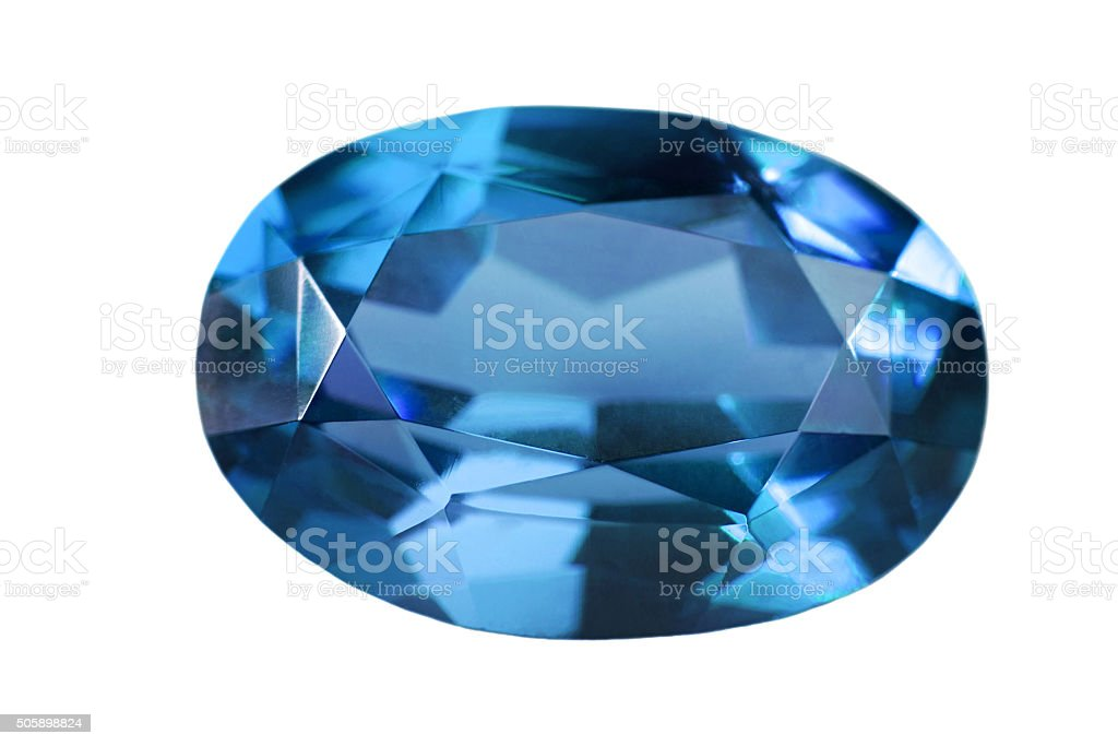 single blue sapphire isolated on white stock photo