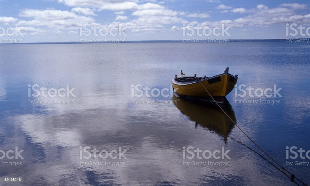 Single boat in the bay royalty-free stock photo