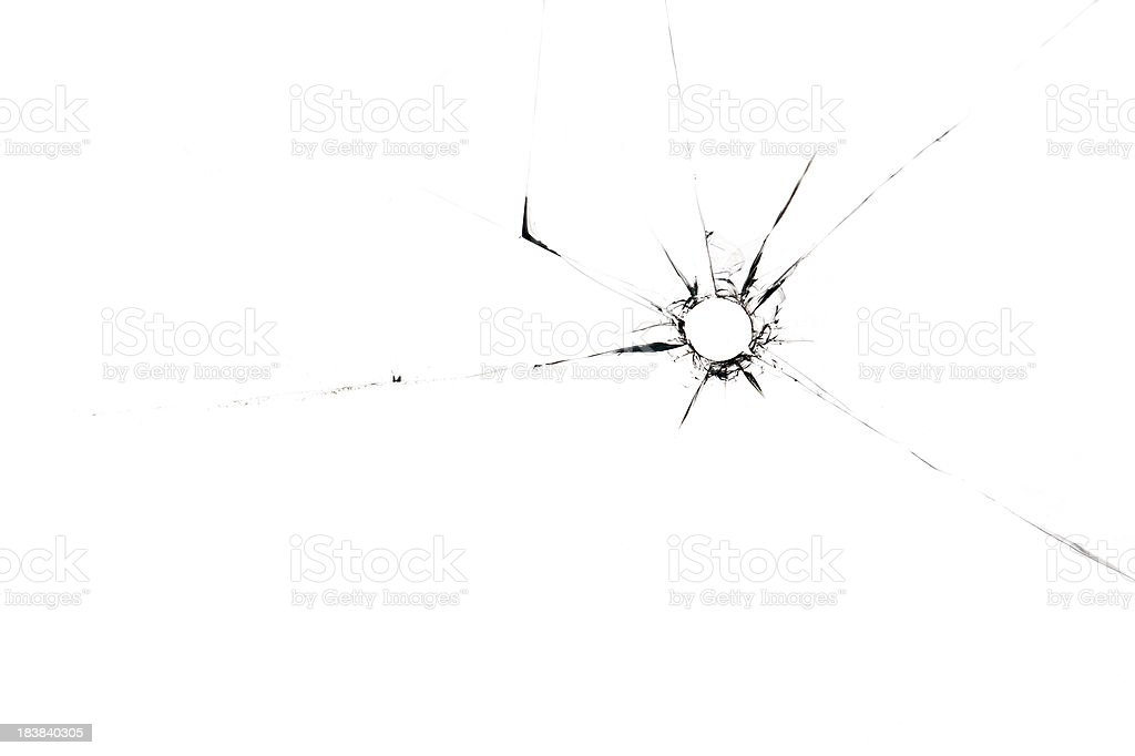 A single bullet whole through glass on a white background stock photo