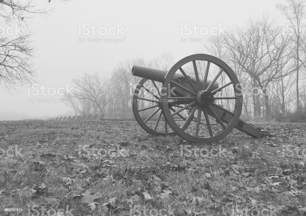 Single cannon on Gettysburg Battlefield stock photo