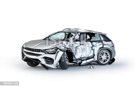 Single car crashed. Silver sedan heavily damaged on a side. Isolated on white background. Perspective view.