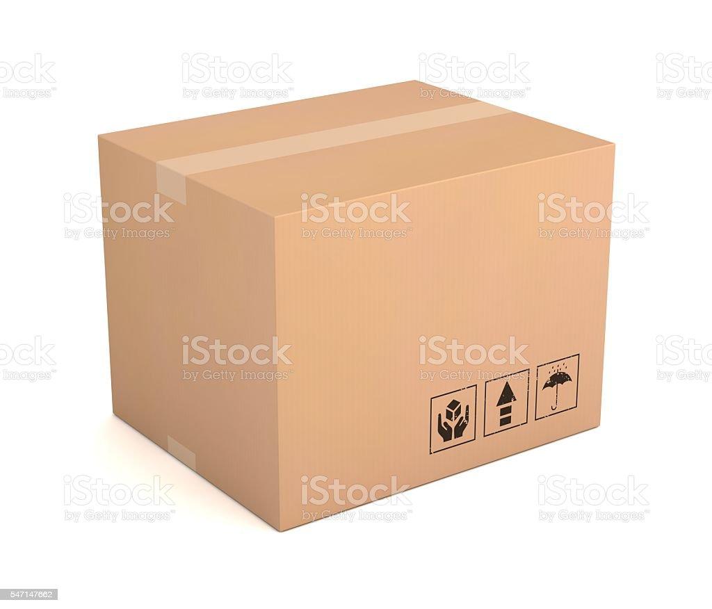 Single cardboard box stock photo