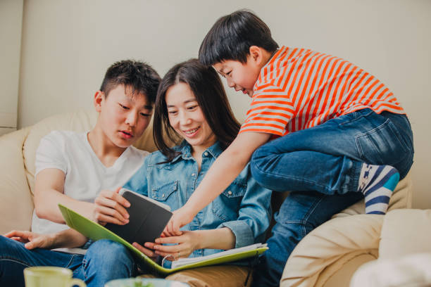 Single Chinese Mother with Two Son's! stock photo