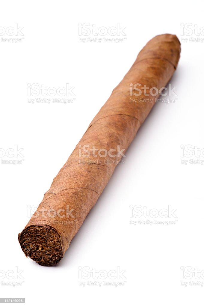 Single cigar isolated on a white background royalty-free stock photo