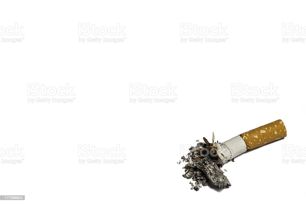 Single cigarette butt with ash royalty-free stock photo