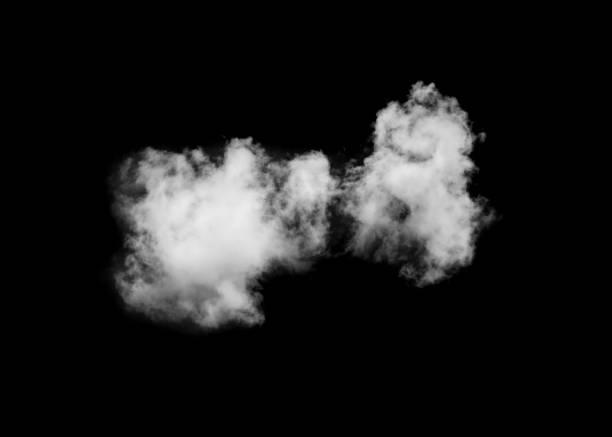 Single cloud isolated on black stock photo
