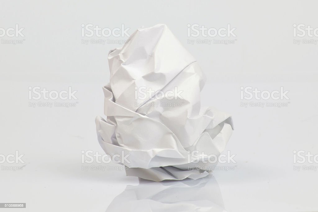 Single crumpled sheet of paper stock photo
