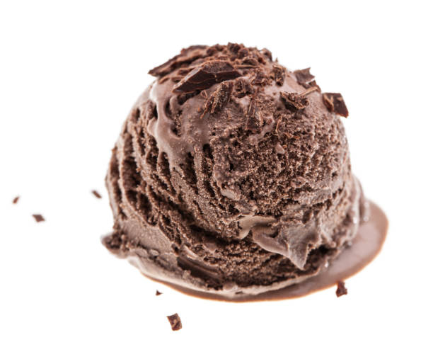 single dark chocolate ice cream scoop with chocolate sprinkles side Real edible ice cream - no artificial ingredients used handful stock pictures, royalty-free photos & images
