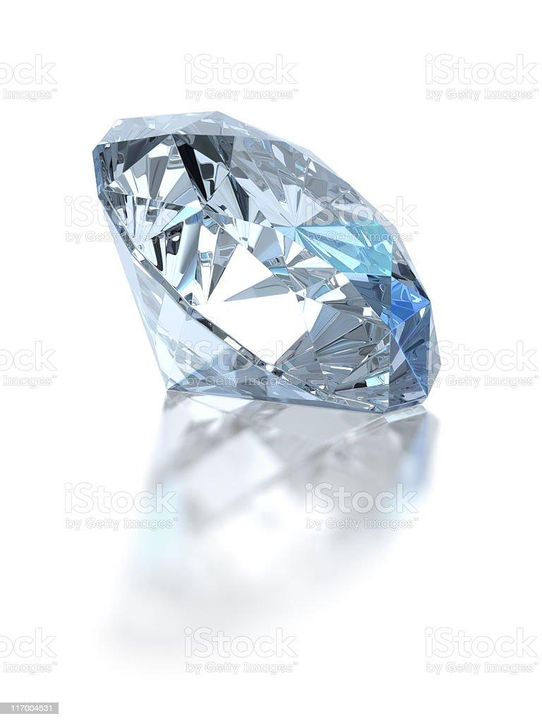Single diamond. Isolated on white royalty-free stock photo