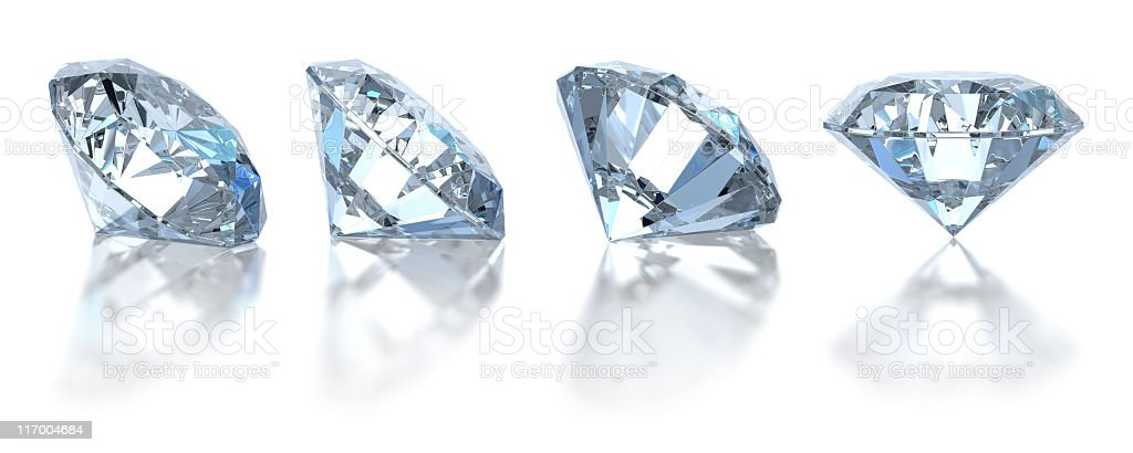 Single diamond. Isolated on white (4 positions) stock photo