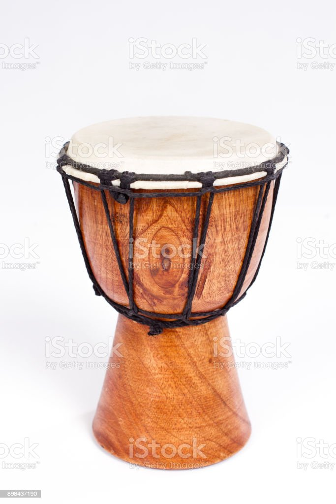 Single Djembe drum isolated on white stock photo