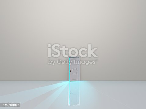 922736714 istock photo Single door in pure white space emits light 480295514