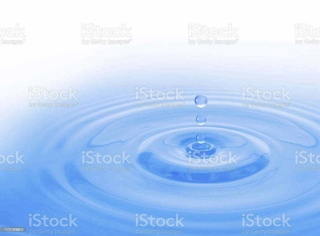 Single drop of water falling and making ripples royalty-free stock photo