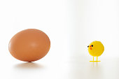 Single, yellow decorative toy Easter chick with a fresh, organic, chicken egg. Image with humorous element, also good for fertility and single parent concepts. Plain white background with great copy space.