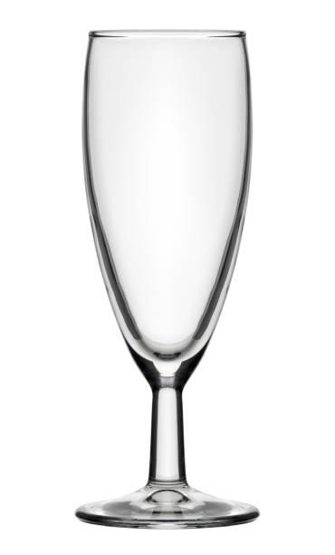 Single empty champagne flute glass stock photo