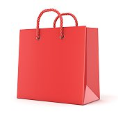 Single, empty, red, blank shopping bag. 3D