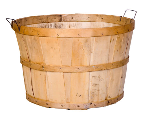 Single empty wooden basket isolated on white stock photo