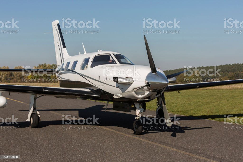 single engine piston aircraft stock photo