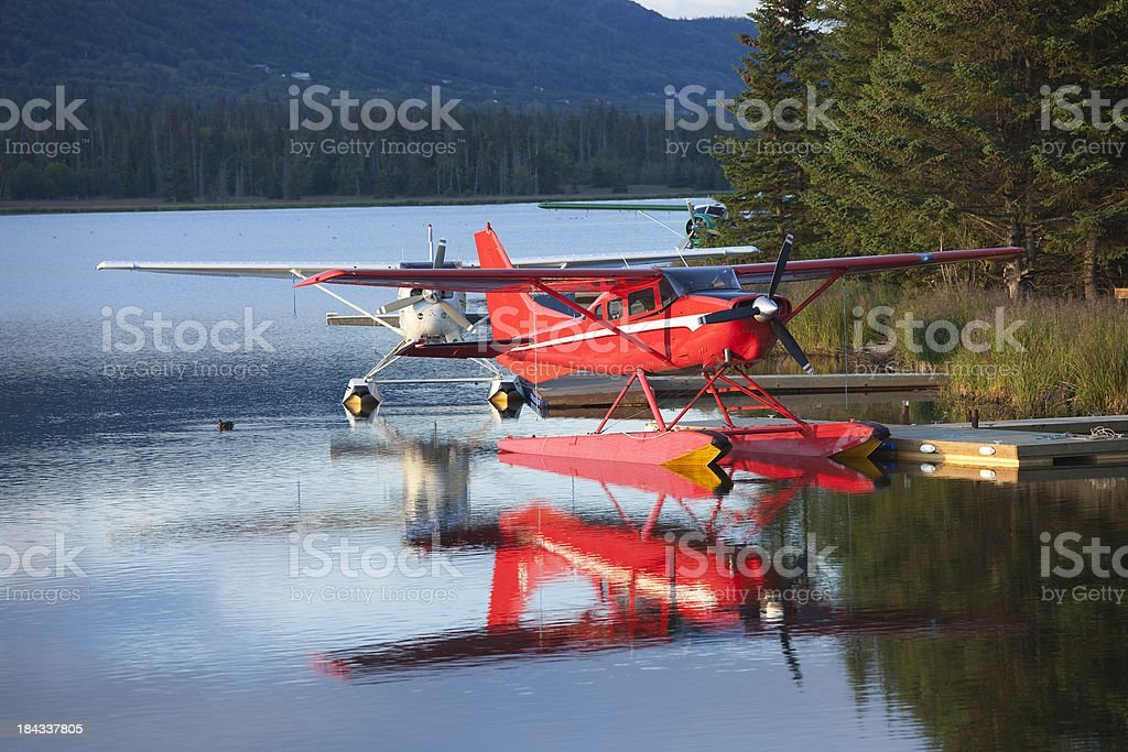 Single engine Seaplane (pontoon plane) based in Homer, Alaska stock photo