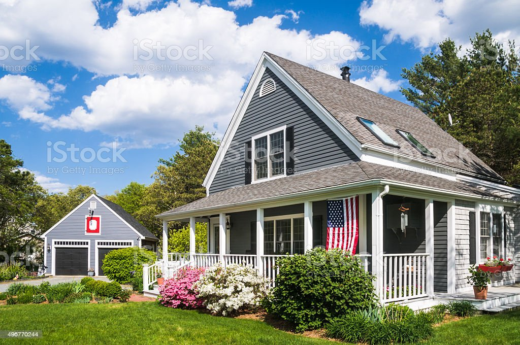 Single Family Home and Garage stock photo