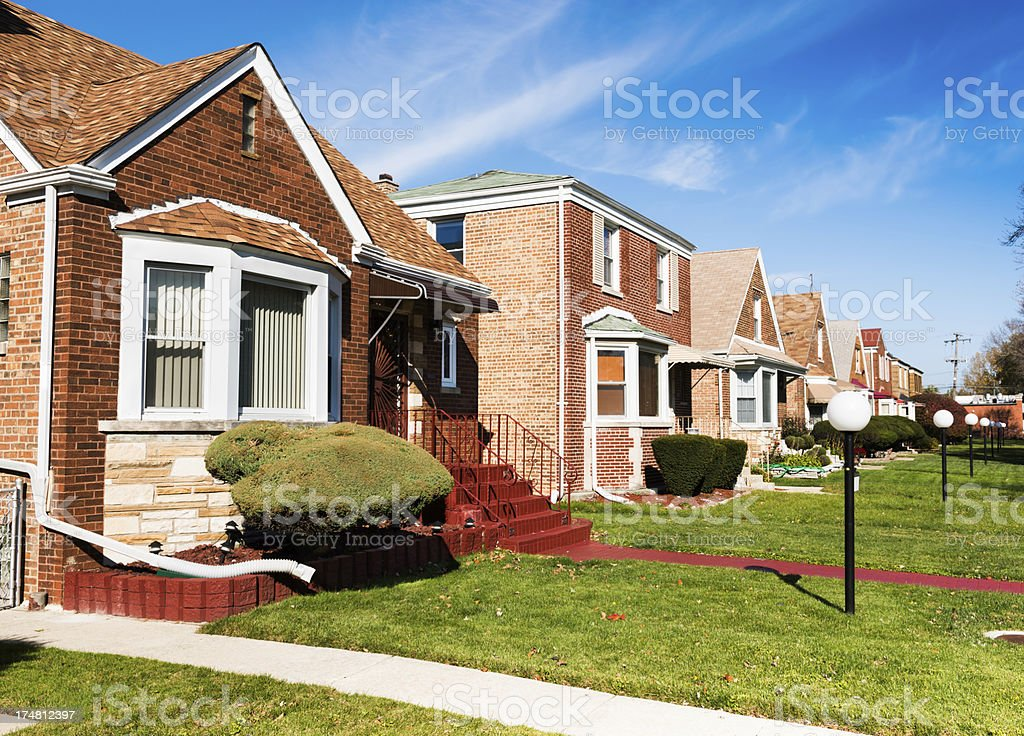 Single family homes in Calumet Heights, Chicago royalty-free stock photo