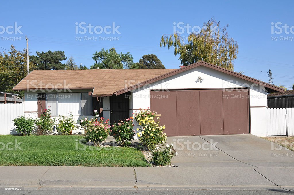 Single family house one story with driveway stock photo