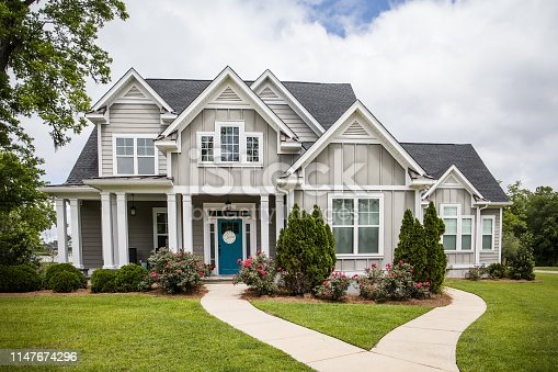 istock Single Family New Construction Home in Suburb Neighborhood in the South. 1147674296