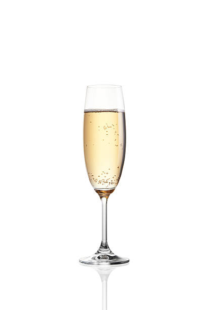 A single filled glass of bubbly champagne Glass of champagne isolated on white background 2014 stock pictures, royalty-free photos & images