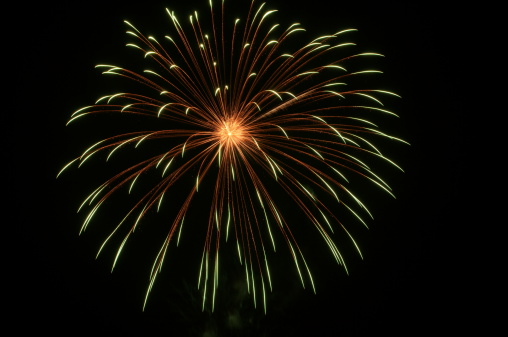 Fourth of July fireworks display on black bacground