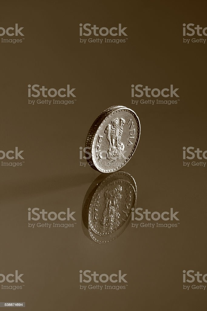 Single five rupee Indian coin stock photo