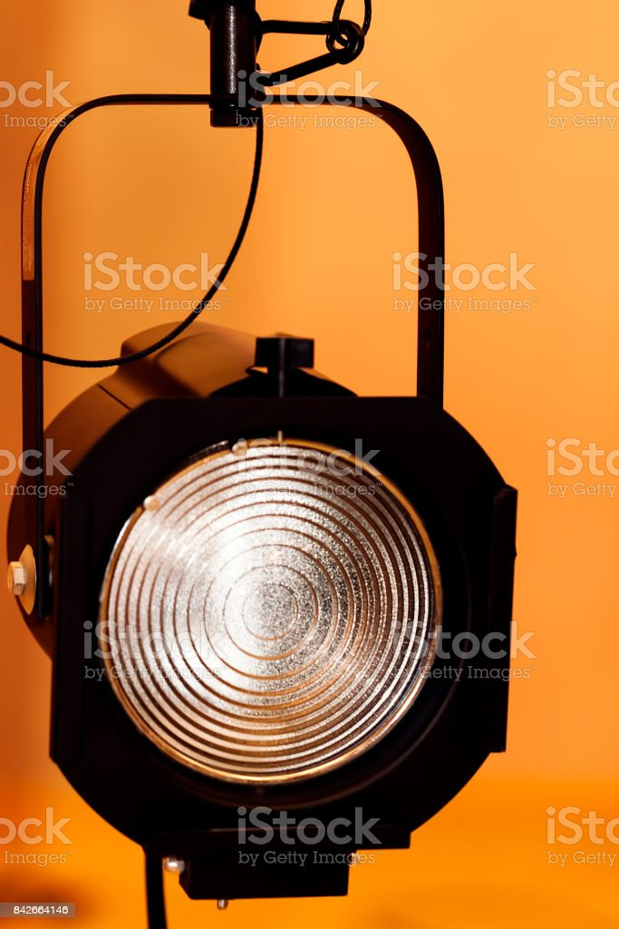 Single Fresnel Theatre Light Hanging With Safety Cable stock photo