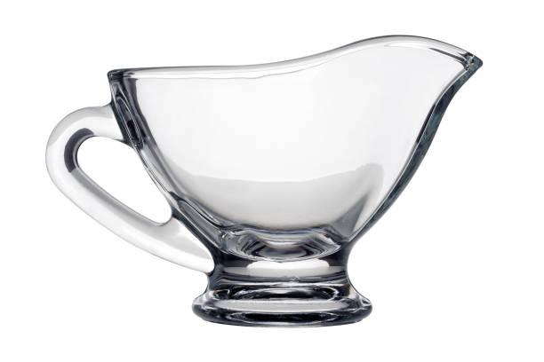 Single glass gravy boat stock photo