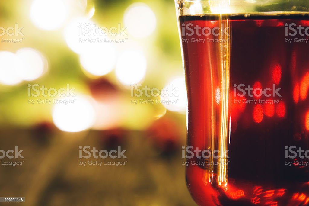 Single glass of hot mulled stock photo