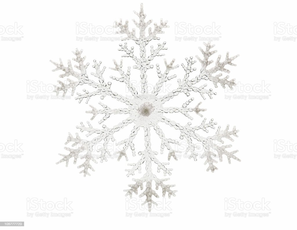 Single glitter snowflake isolated on a white background royalty-free stock photo