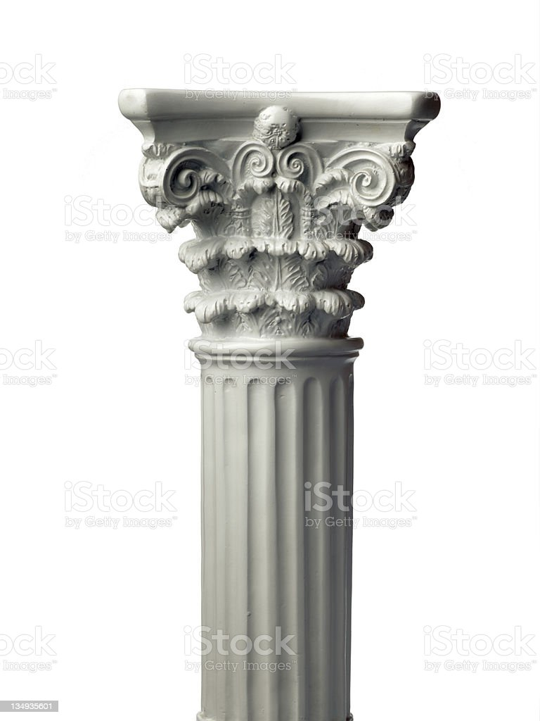 Single greek column isolated on white royalty-free stock photo