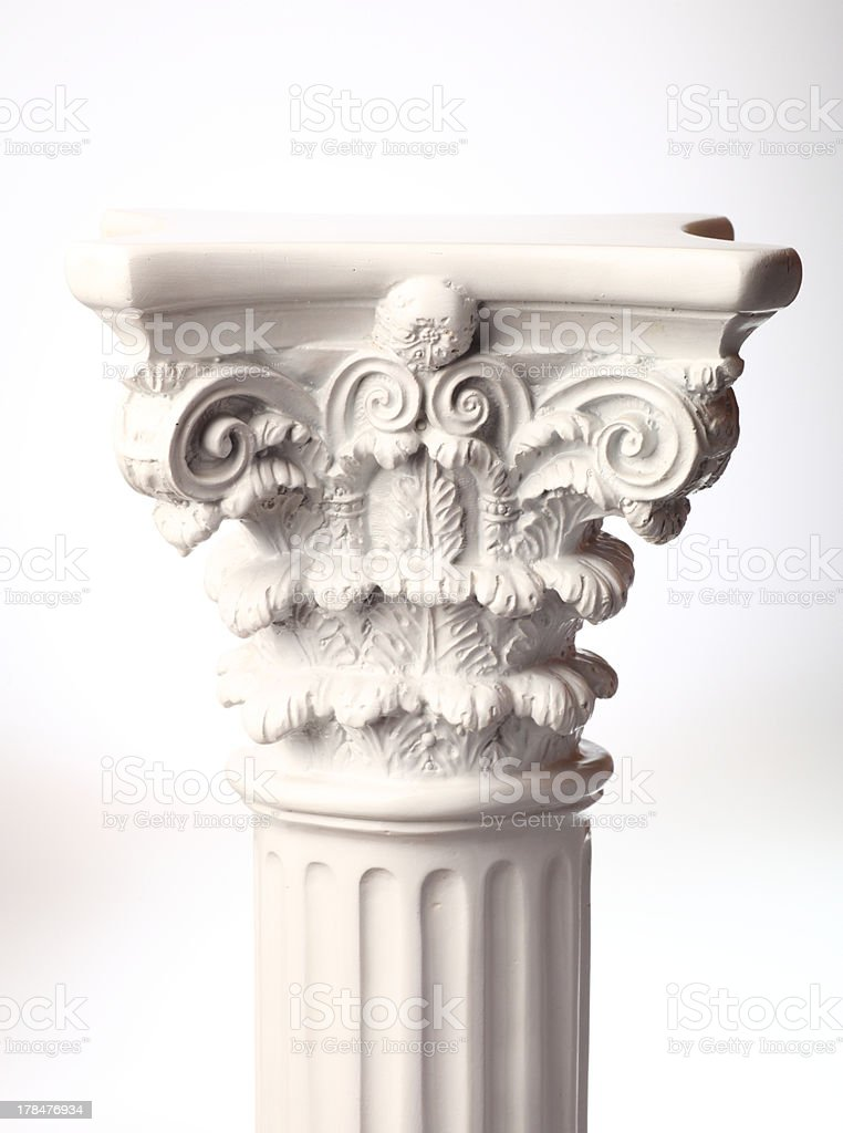 Single greek column on white stock photo
