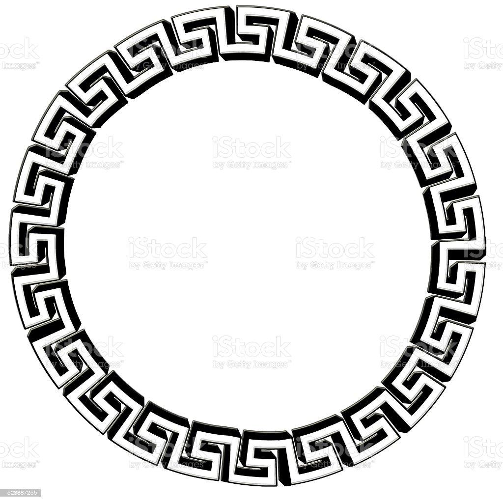 Single Greek Key Circle Silver Isolated On White Illustration Stock