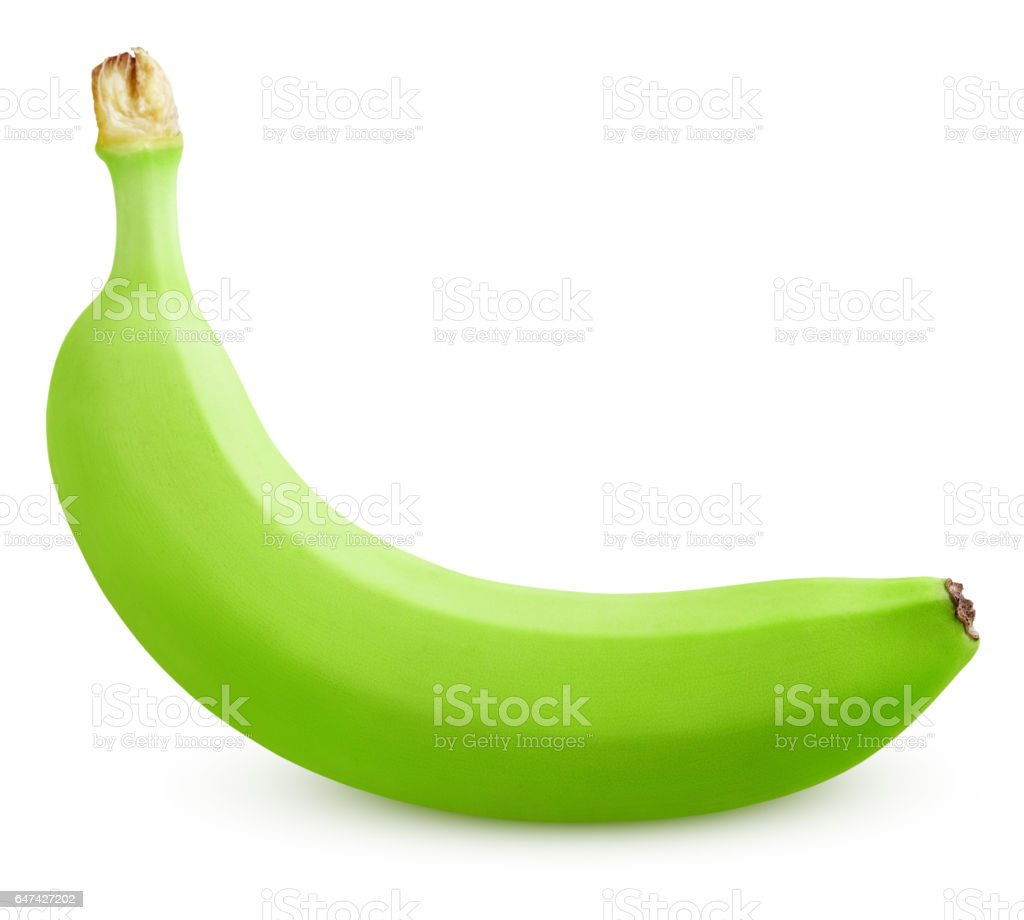 Única green banana isolada no branco