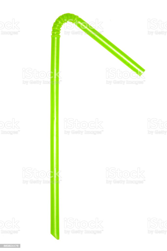 A single Green flexible drinking straw bent at an angle on a white background. stock photo