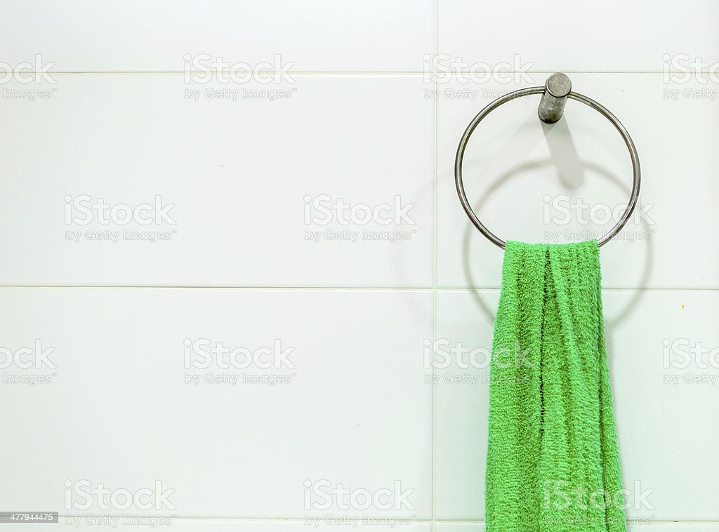 Single Green Towel or Napkin on White Background royalty-free stock photo