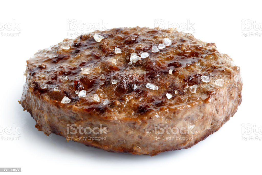 Single Grilled Hamburger Patty With Salt Isolated On White Stock Photo -  Download Image Now
